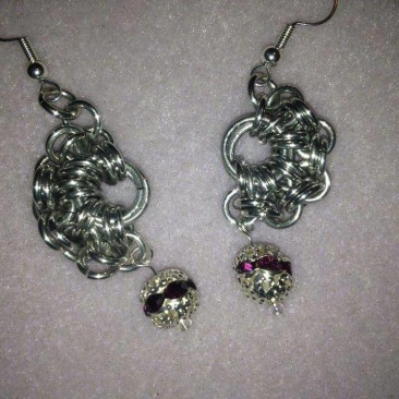 Half Moon Earrings with Drop Bead