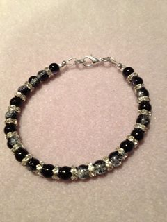 Black and Clear Sparkly Bracelet