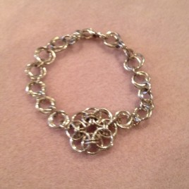 Celtic Flower and Flower Chain Bracelet