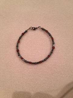Hematite and Garnet Coloured Beads Bracelet