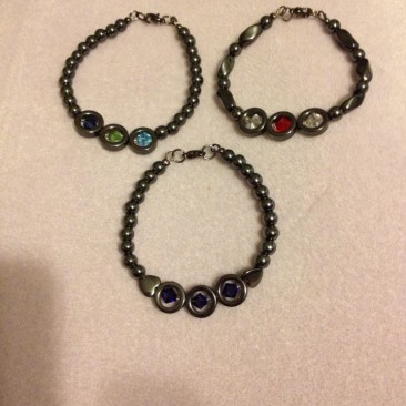 Hematite and Swarovski Crystal Bracelets