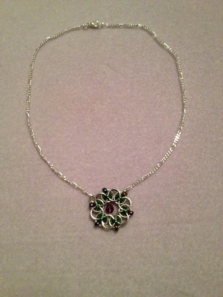 Flower Necklace Purple and Green