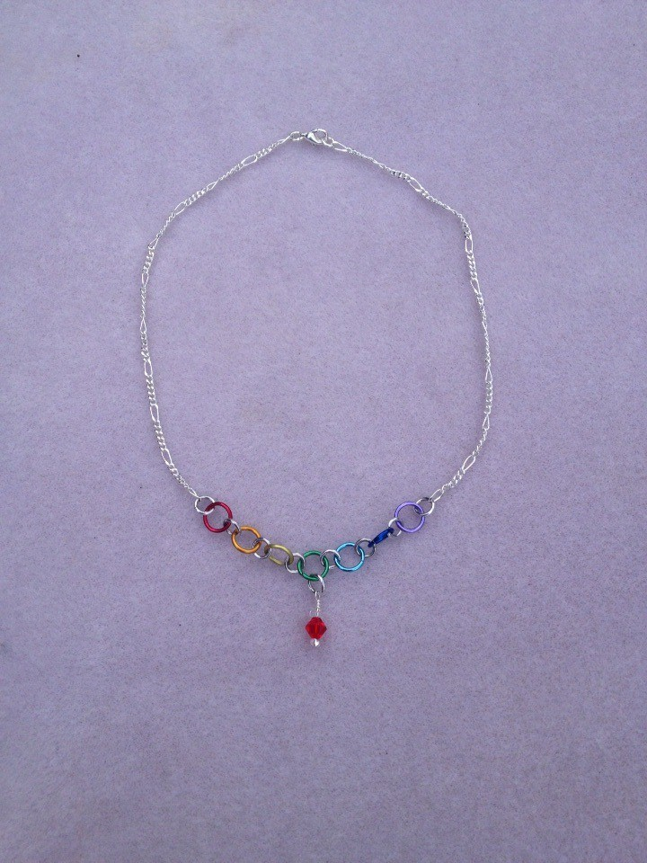Chakra Colours Necklace with birthstone crystal