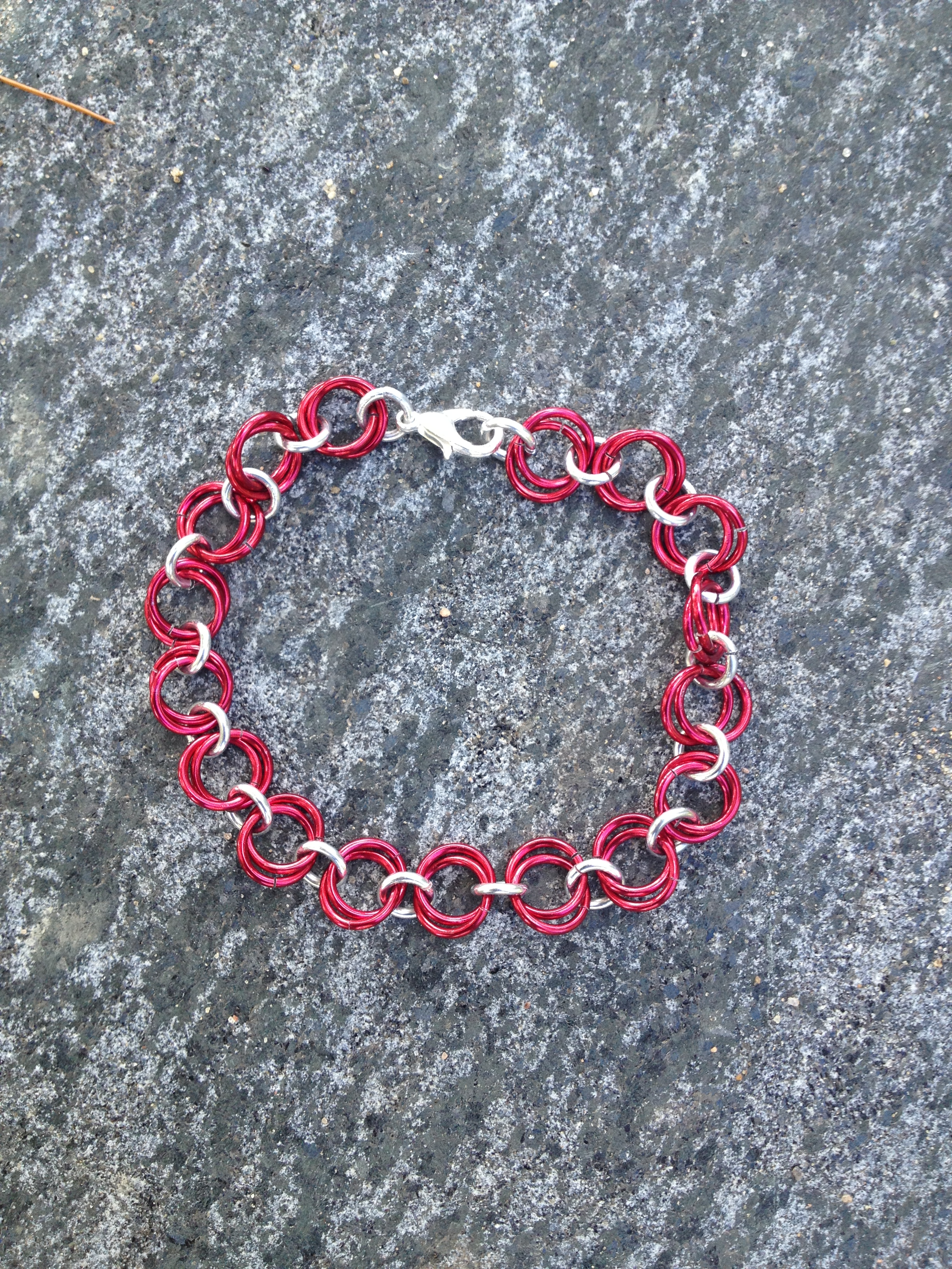 Simple Chain Mail Bracelet Red