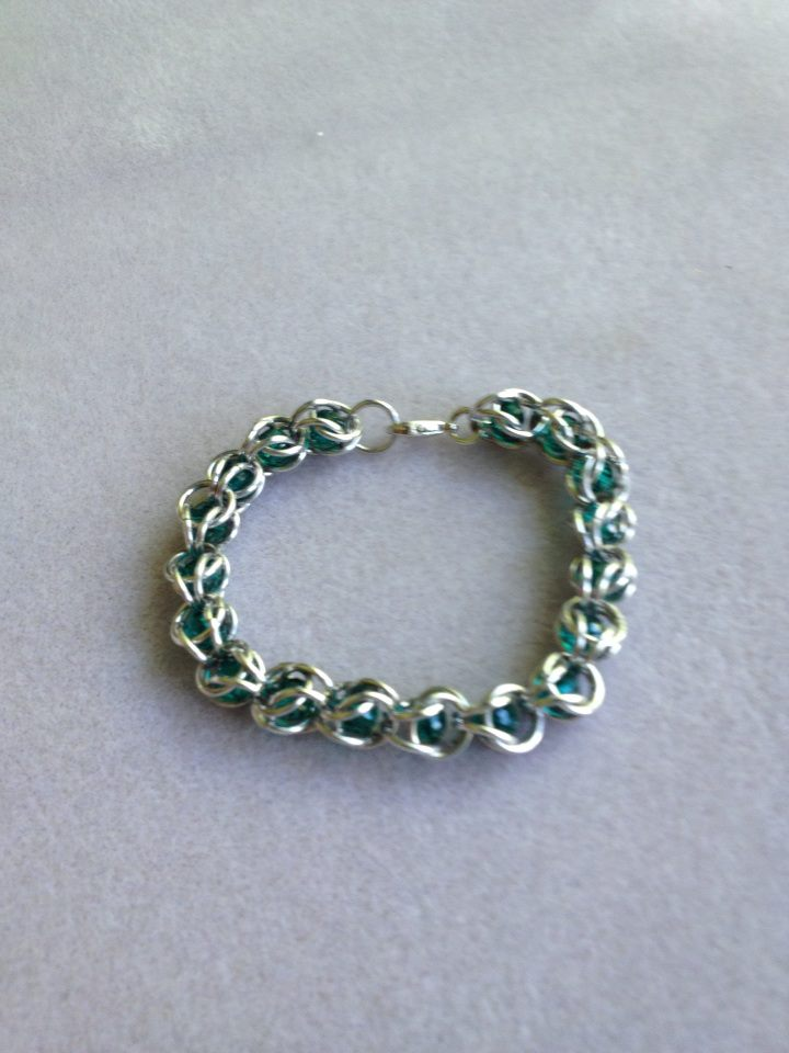 Bead Capture Bracelet Green Beads