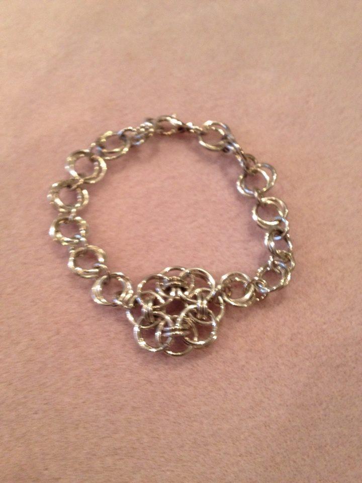 Celtic Flower and Flower Chain Bracelet