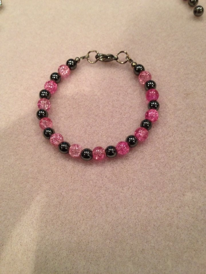 Crackling Pink and Hemitite Bracelet