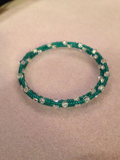 Swarovski Crystals and seed bead wrap bracelet