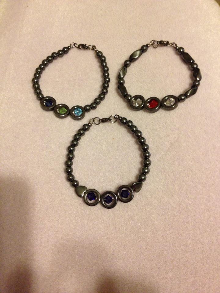 Hematite and Swarovski Crystal Bracelets