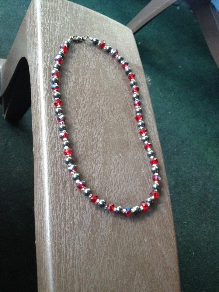 Ruby Red and Hematite Necklace