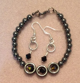 Hematite and Purple AB Swarovski Set