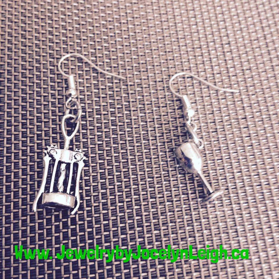 Corkscrew and Wine Glass Earrings